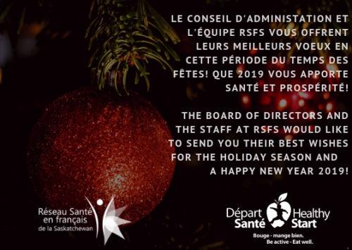 Meilleurs voeux du Réseau Santé en français de la Saskatchewan et Départ Santé